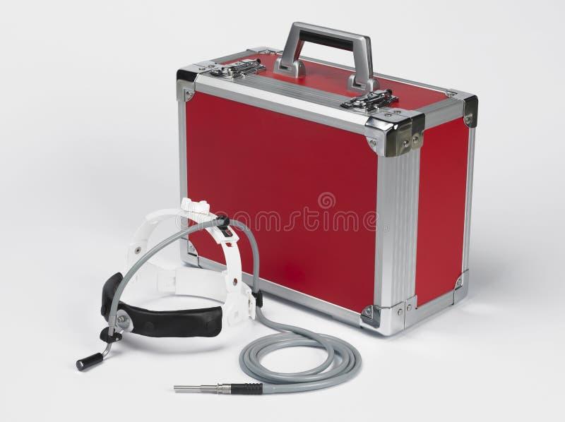 Medische apparatuur met een micro- camera in een helm stock foto's