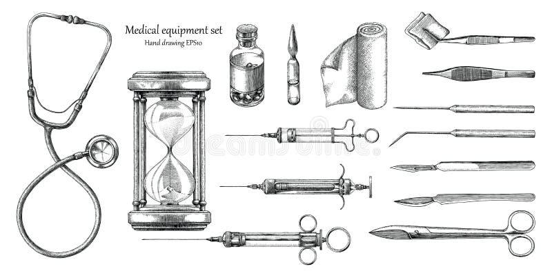 Medische apparatuur vastgestelde hand die uitstekende stijl trekken vector illustratie