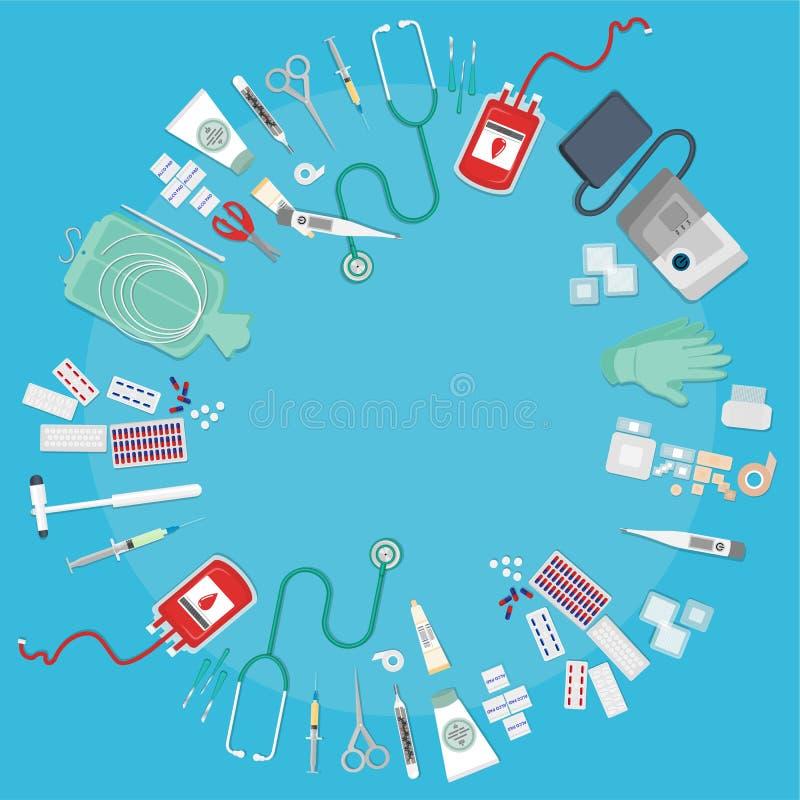 Medische apparatuur vlak Web stock illustratie