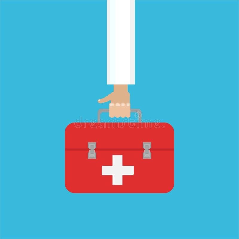 Medische apparatuur vlak Web en drukillustratie artsenhand met de medische uitrustingen van de eerste hulpzak stock illustratie