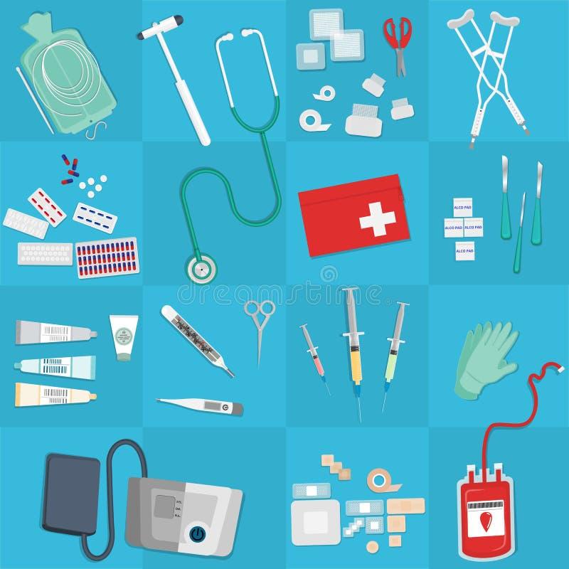 Medische apparatuur vlakke Web en drukillustratie royalty-vrije illustratie