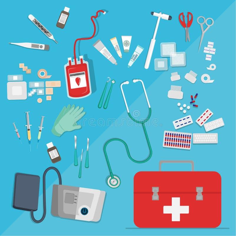 Medische apparatuur vlakke Web en drukillustratie vector illustratie
