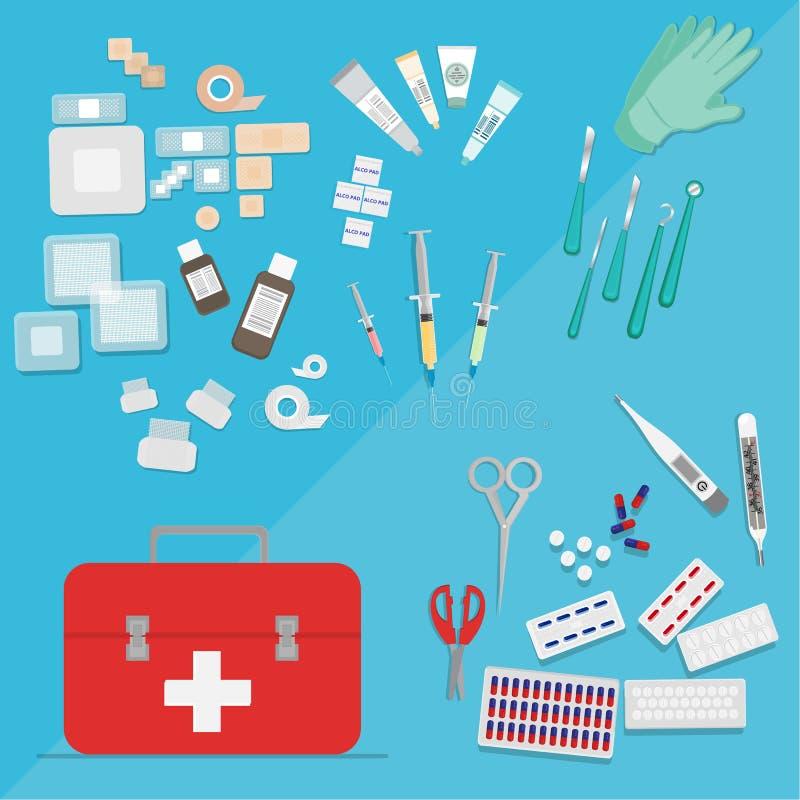 Medische apparatuur vlakke Web en drukillustratie stock illustratie