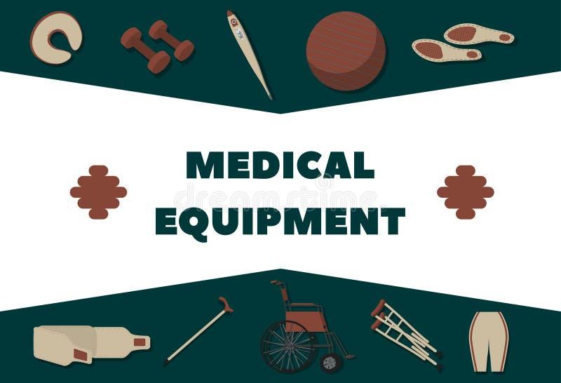 Medische apparatuur voor rehabilitatie, terugwinnings en gezondheidsbevordering vector illustratie