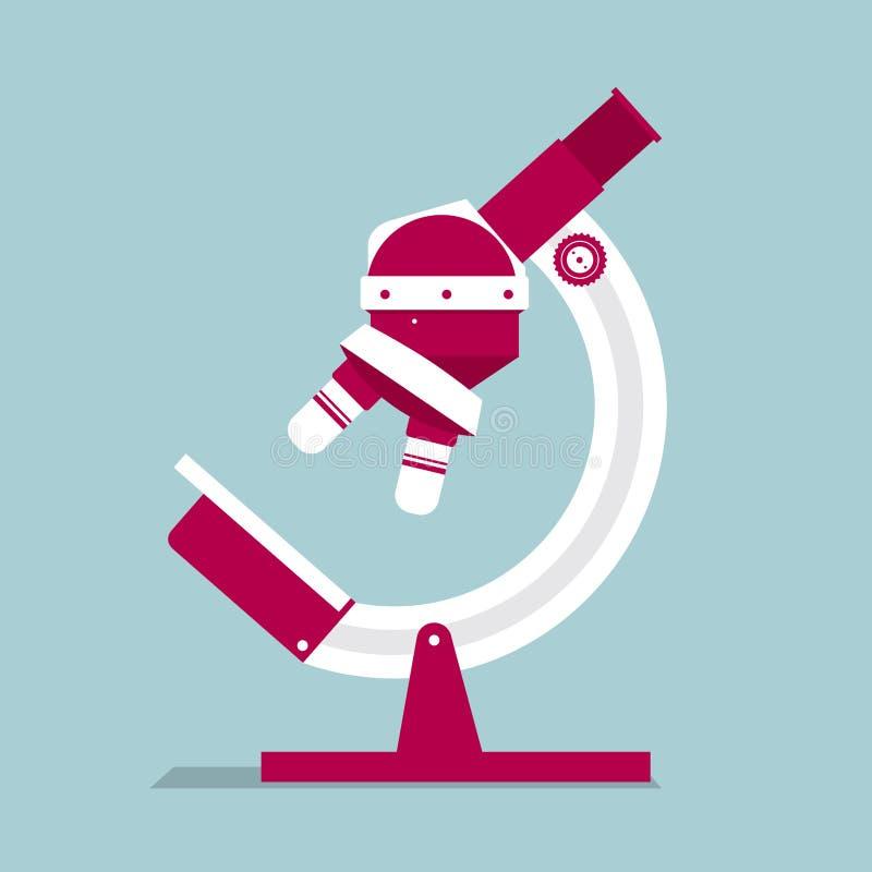 Medische apparatuurontwerp, microscoop op de blauwe achtergrond stock illustratie