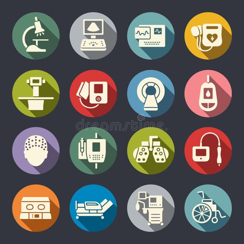 Medische apparatuurpictogrammen stock illustratie