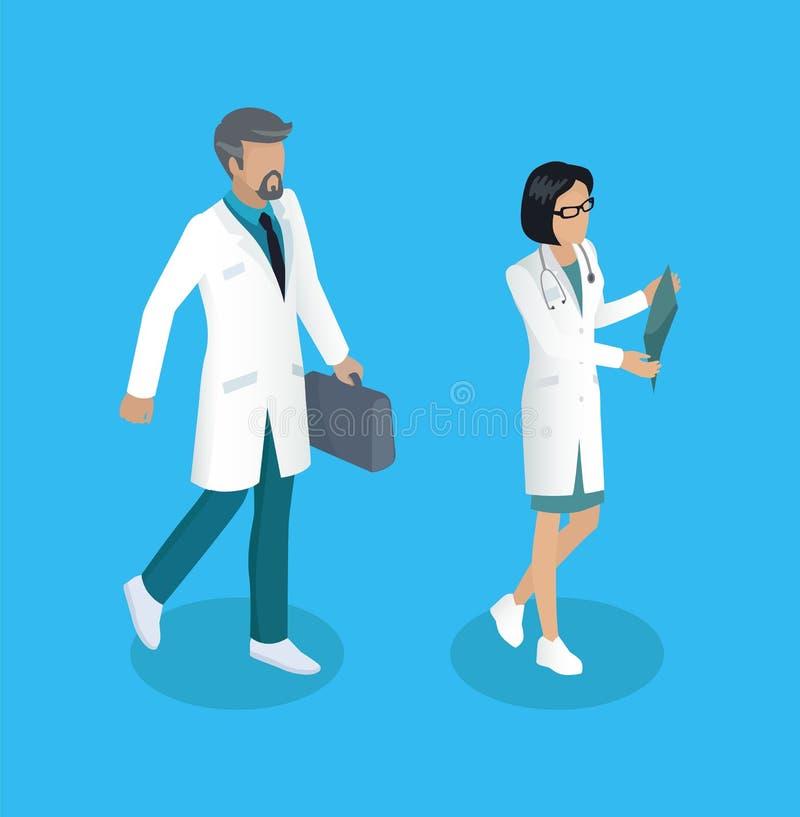 Medische Arbeidersdokters Geplaatst Vectorillustratie stock illustratie