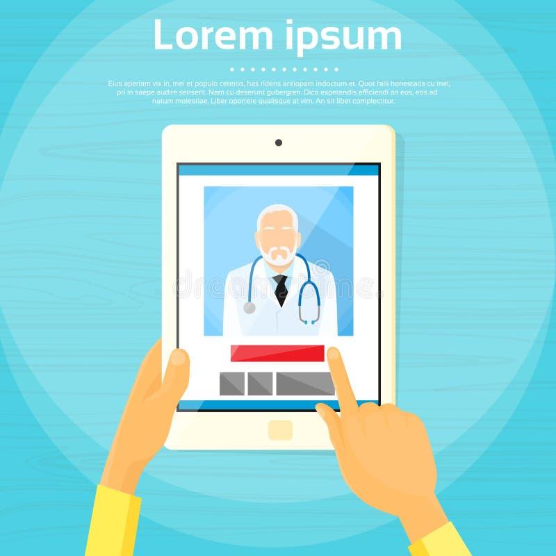 Medische Arts Vlak Tablet Computer Application royalty-vrije illustratie