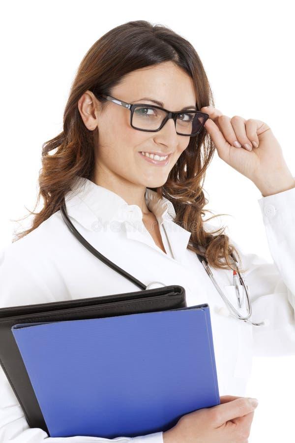 Medische artsenvrouw met stethoscoop royalty-vrije stock foto