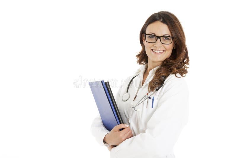 Medische artsenvrouw met stethoscoop royalty-vrije stock afbeelding