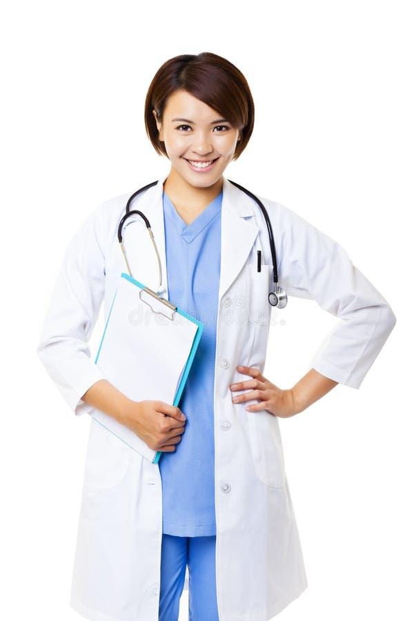 Medische artsenvrouw met stethoscoop stock afbeeldingen