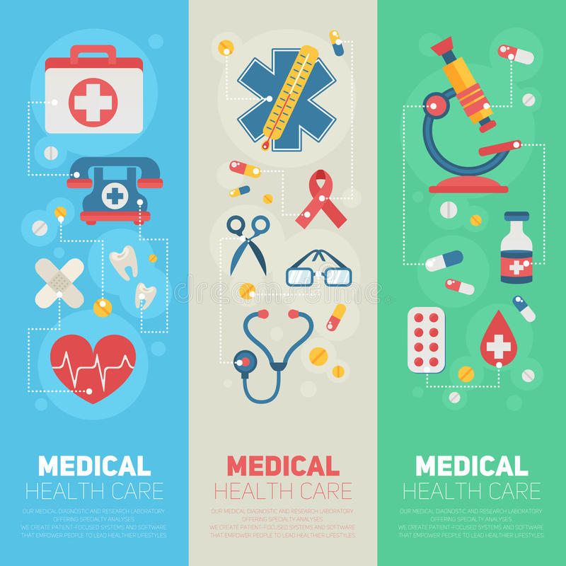 Medische bannersmalplaatjes in in vlakke stijl vector illustratie