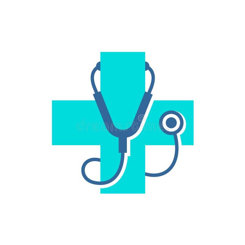 Medische behandeling dwarsembleem met stethoscoopmateriaal royalty-vrije illustratie