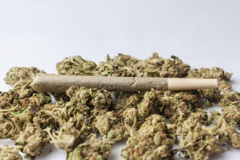 Medische cannabisverbinding op cannabisknoppen van kant stock foto's