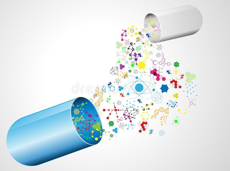 Medische capsule en molecule royalty-vrije illustratie