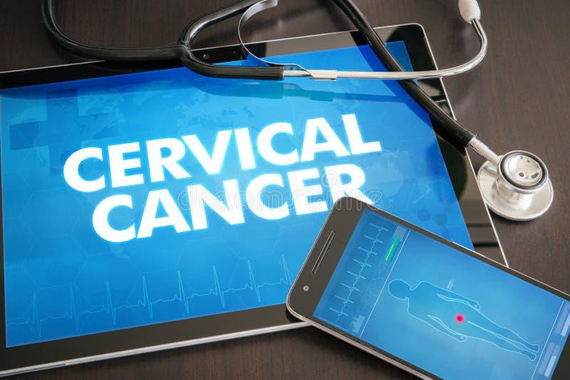 Medische concept het cervicale van de kanker (kankertype) diagnose op lijst stock afbeeldingen