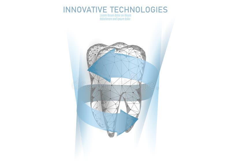 Medische constructie met lage poly tandbescherming Verwerking van tandpasta voor de reconstructie van kuikens Gezonde veelhoeken vector illustratie