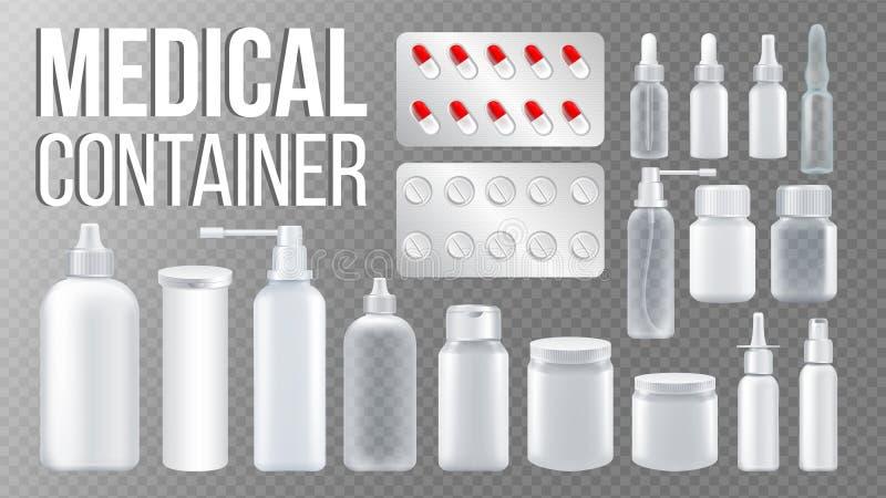 Medische Containervector Nevel, Pillen, Drugs, Fles met GLB Farmaceutische Geneesmiddel Verpakking Pharma het Brandmerken stock illustratie