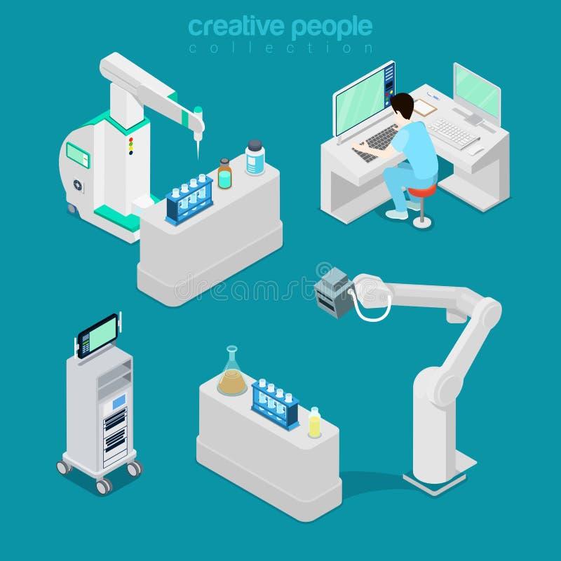 Medische de computerapparatuurfla van het het ziekenhuislaboratorium vector illustratie