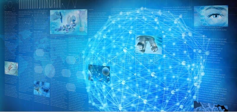 Medische de gegevensgrafieken van het technologieonderzoek in het blauw scherm vector illustratie