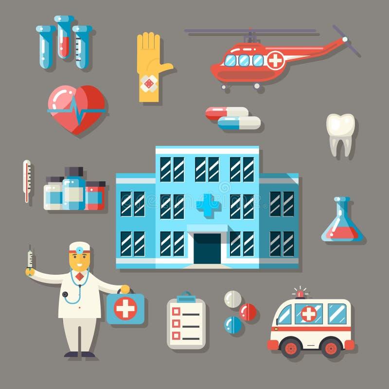 Medische de Gezondheidszorg van de het Ziekenhuisziekenwagen Arts Flat royalty-vrije illustratie