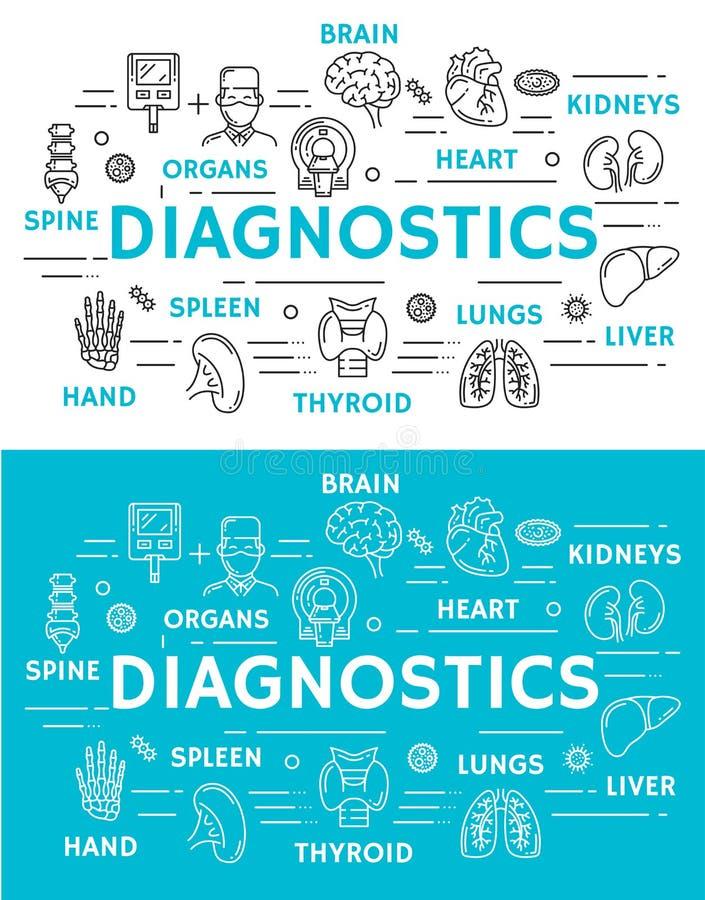 Medische diagnostiekbanner van kenmerkende kliniek royalty-vrije illustratie