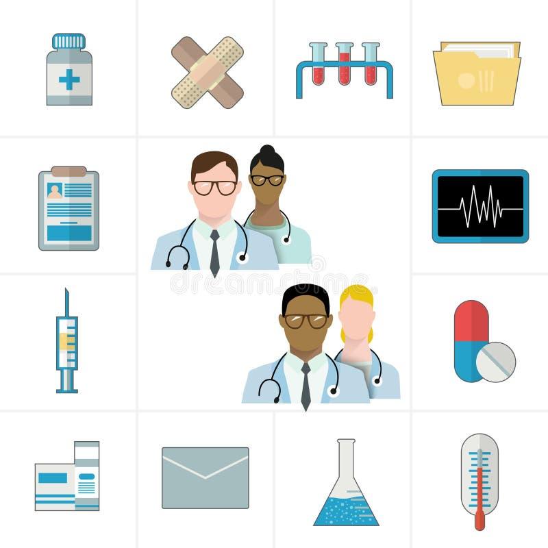 Medische en geneesmiddel of pharmapictogrammen Thermometer, tabletten en pillen, drug, cardiogram, spuit, omslag en documenten royalty-vrije illustratie