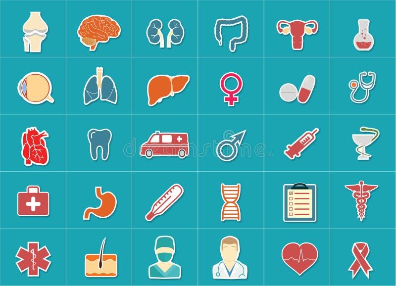 Medische en geplaatste gezondheidszorgpictogrammen royalty-vrije stock afbeelding