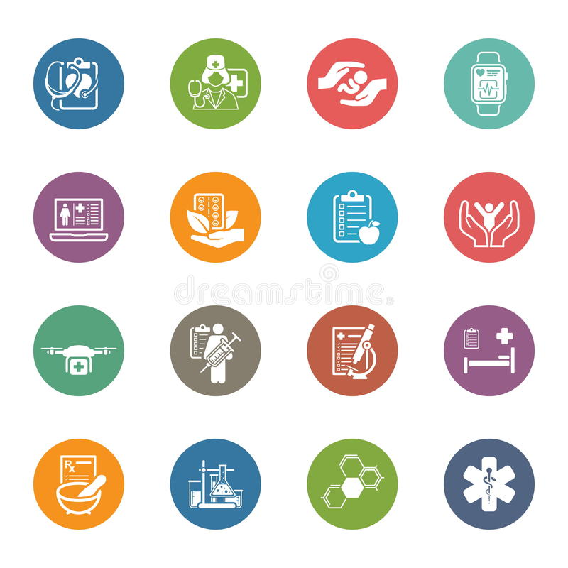 Medische en geplaatste gezondheidszorgpictogrammen Vlak Ontwerp stock illustratie