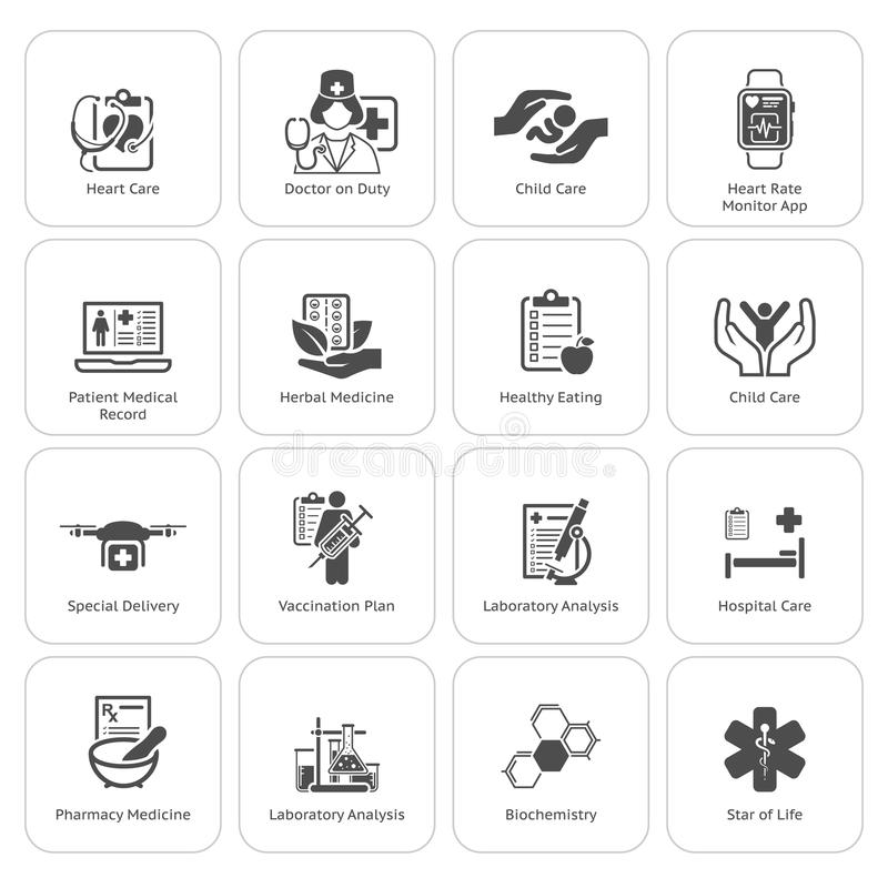 Medische en geplaatste gezondheidszorgpictogrammen Vlak Ontwerp vector illustratie