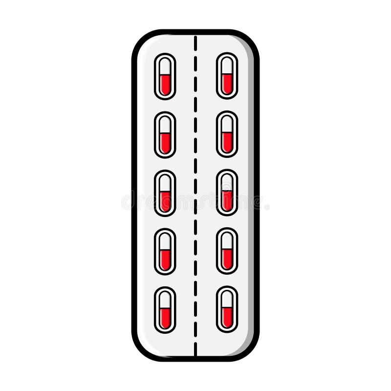 Medische farmaceutische pillencapsules in het pakket, de plaat voor de behandeling van ziekten, pictogram op een witte achtergron vector illustratie