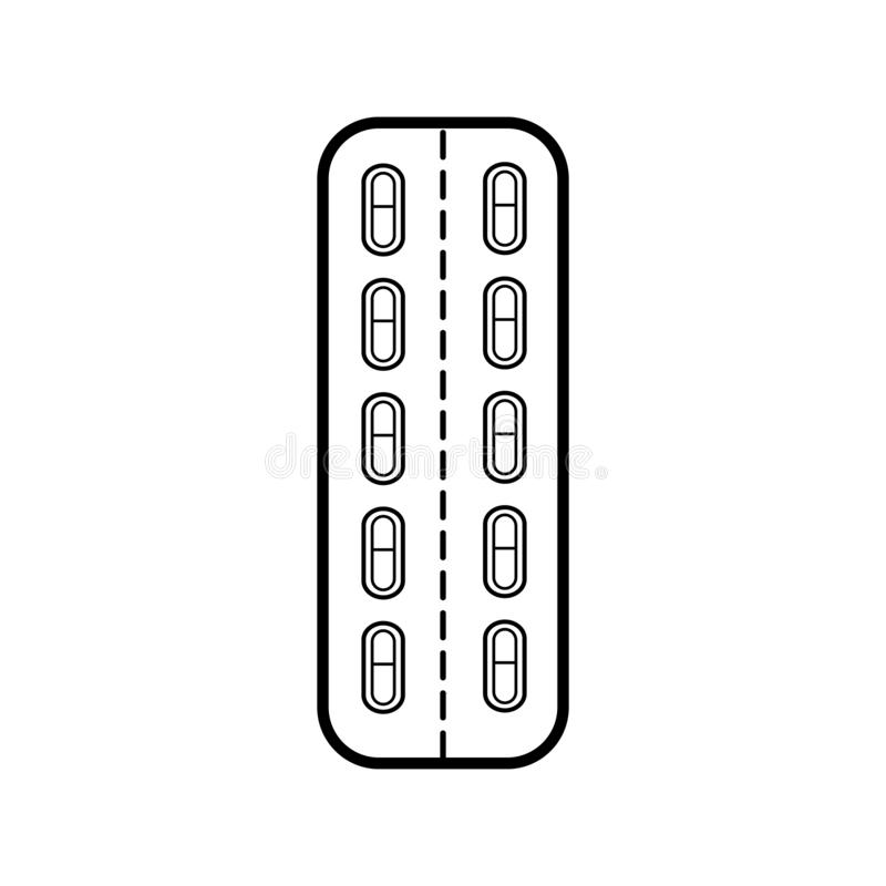 Medische farmaceutische pillenpillen in het pakket, de plaat voor de behandeling van ziekten, een eenvoudig zwart-wit pictogram stock illustratie