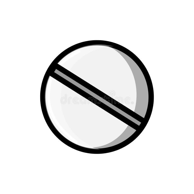 Medische farmaceutische ronde pillen die voor de behandeling van ziekten, pictogram op een witte achtergrond helen Vector illustr stock illustratie