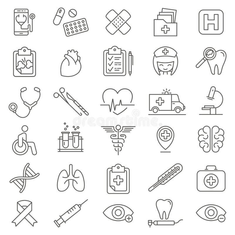 Medische & Geplaatste Gezondheidszorgpictogrammen stock illustratie