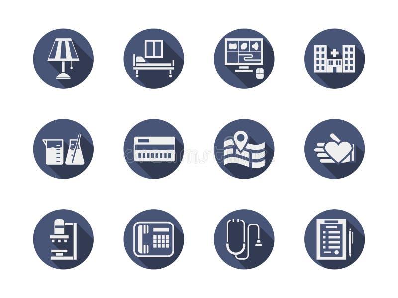 Medische geplaatste kliniek blauwe ronde pictogrammen vector illustratie