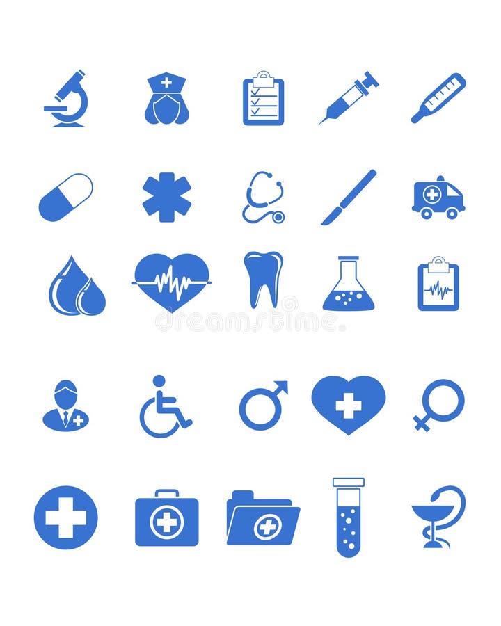 Medische geplaatste pictogrammen stock illustratie