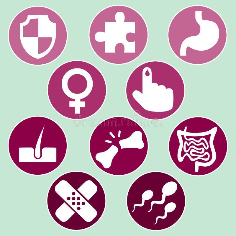 Medische geplaatste pictogrammen stock afbeelding