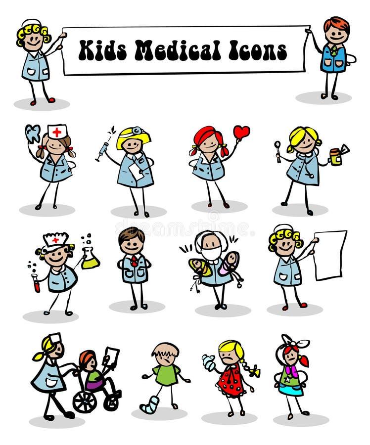 Medische geplaatste pictogrammen, jonge geitjes vector illustratie