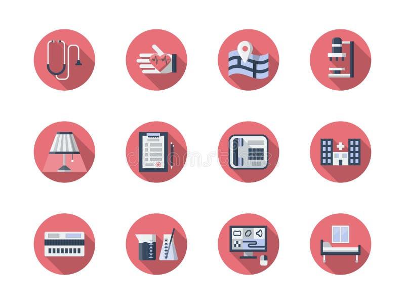 Medische geplaatste steun vlakke ronde pictogrammen vector illustratie