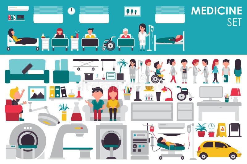 Medische Grote Inzameling in vlak ontwerpconcept als achtergrond Infographicelementen met de arts en de verpleegster die van het  vector illustratie