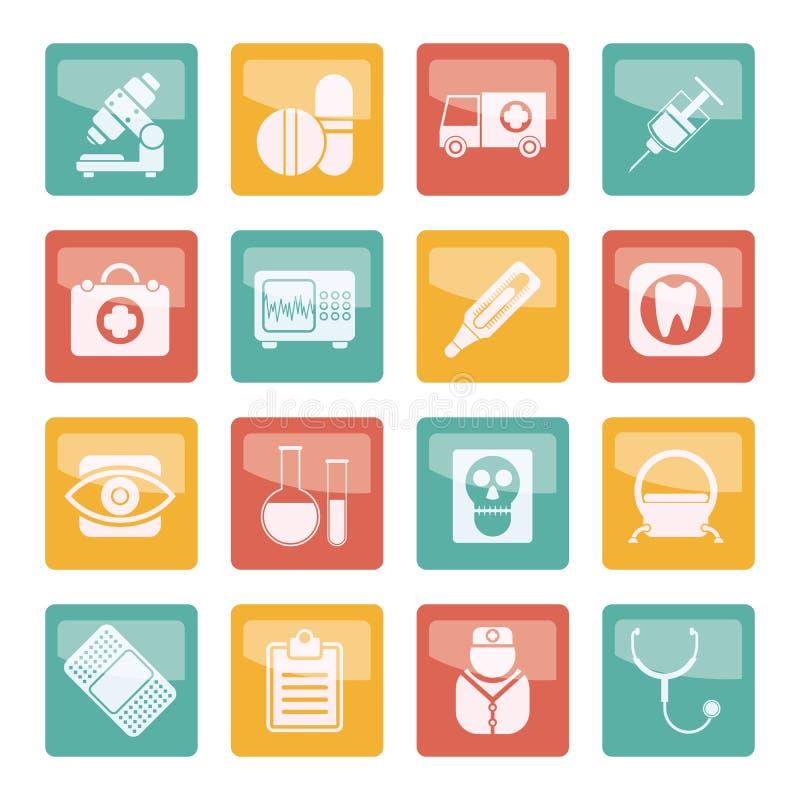 Medische, het ziekenhuis en gezondheidszorgpictogrammen over gekleurde achtergrond royalty-vrije illustratie