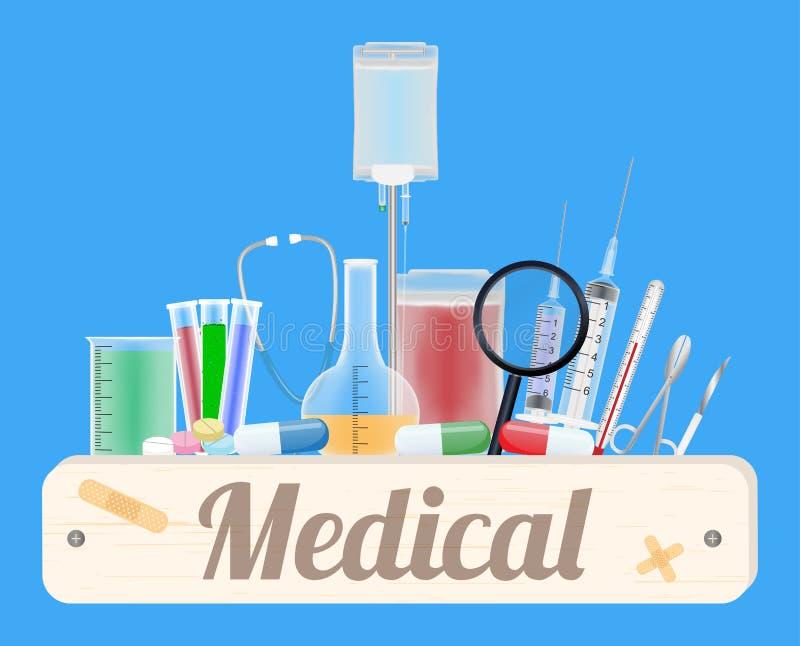 Medische houten raad met medische apparatuur vector illustratie