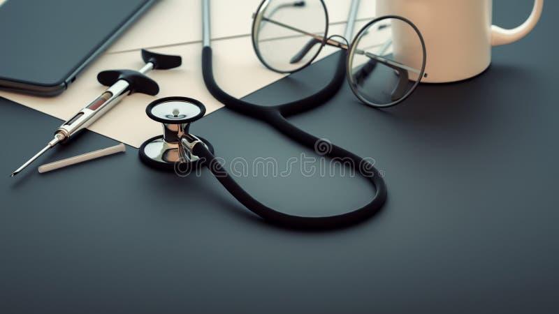 Medische hulpmiddelen die op de lijst worden geplaatst stock illustratie