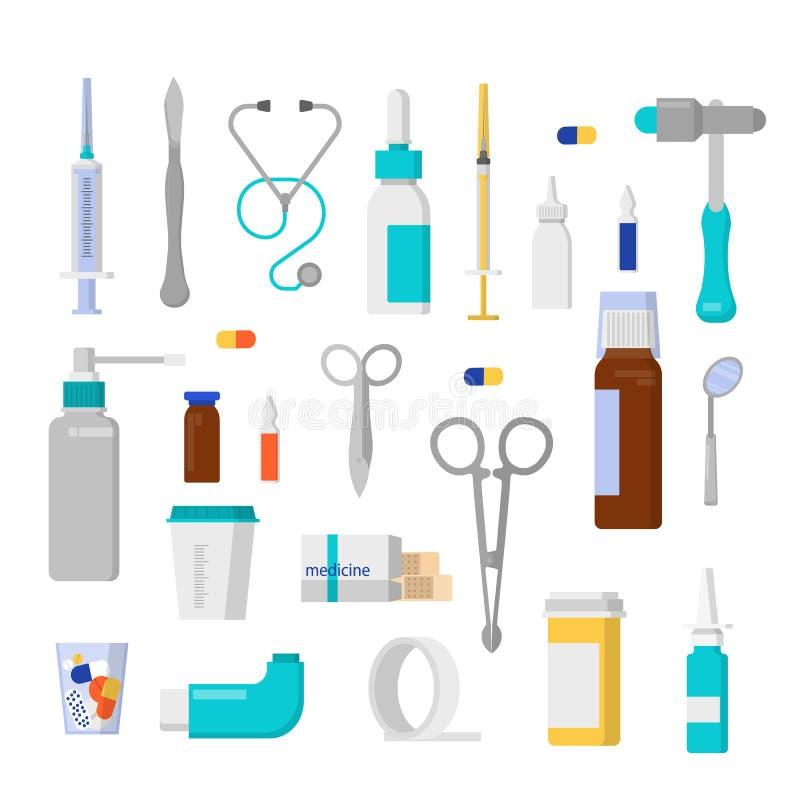 Medische hulpmiddelenreeks met spuit en schaar royalty-vrije illustratie