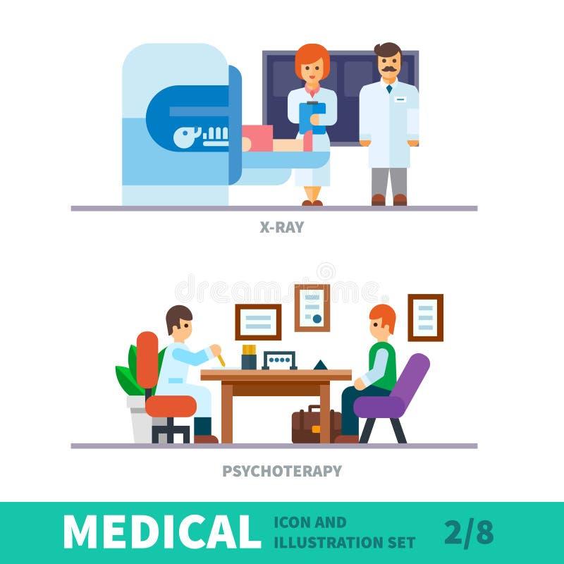 Medische illustratie van de ontvangst bij de arts vector illustratie