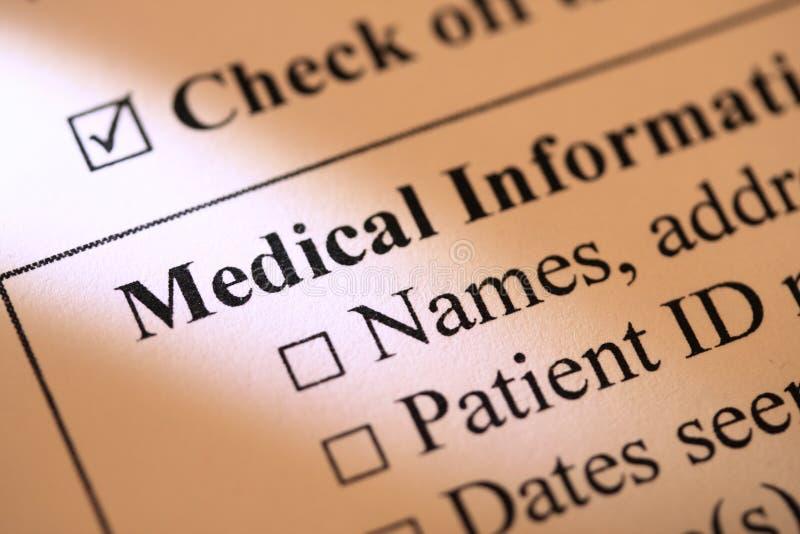 Medische informatievorm stock afbeeldingen