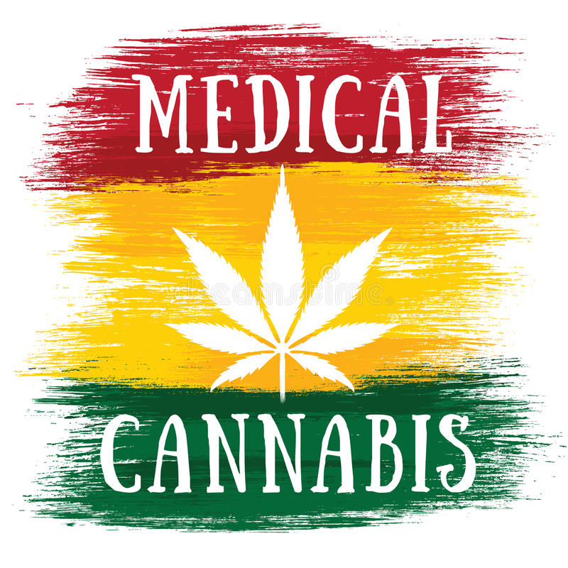 Medische Jamaicaanse de vlagkleuren van het Cannabis witte blad royalty-vrije illustratie