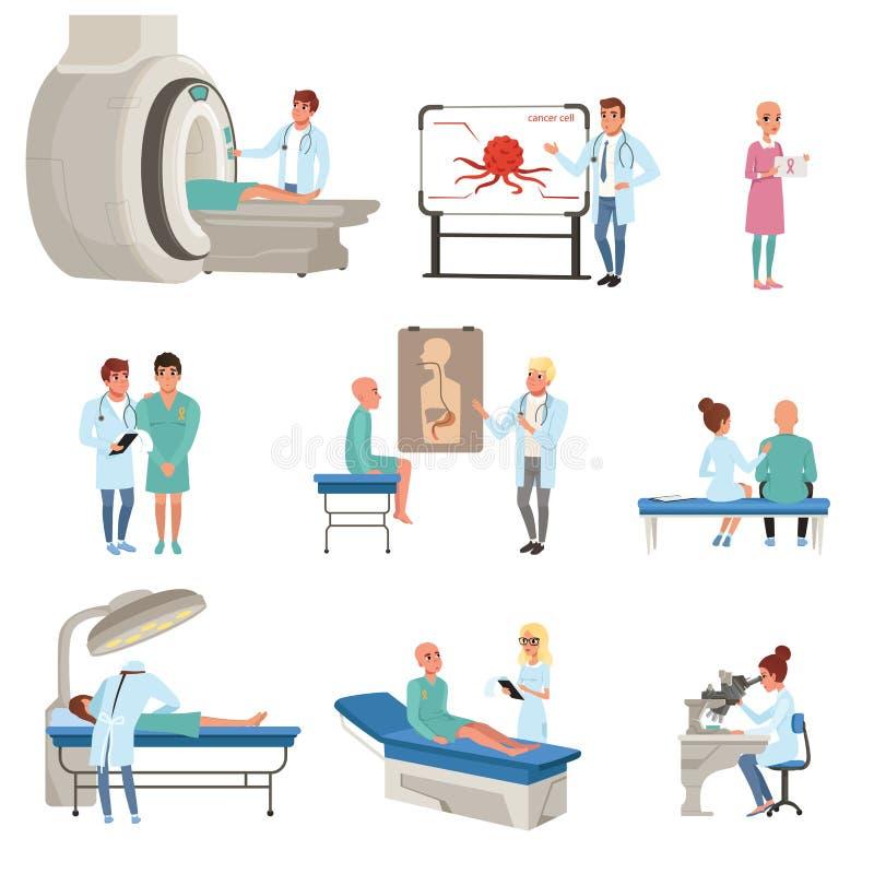 Medische kenmerkend en behandeling van kankerreeks, artsen, patiënten en materiaal voor de vector van de oncologiegeneeskunde royalty-vrije illustratie