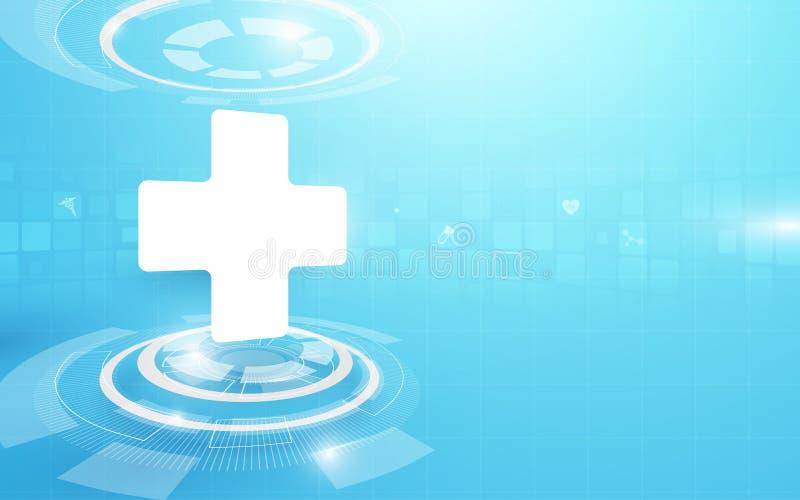 Medische kruis en technologie digitale hallo het conceptenachtergrond van technologie royalty-vrije illustratie