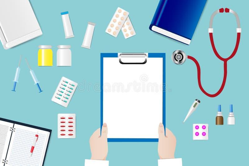 Medische lijst met artsen` s handen die leeg document houden vector illustratie